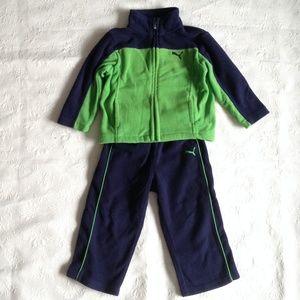Puma green/navy fleece sport jacket/pants set 2T